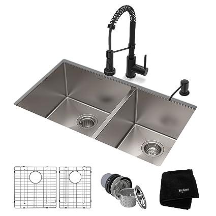 Amazon.com: KRAUS KHU103-33-1610-53MB - Juego de fregadero y ...