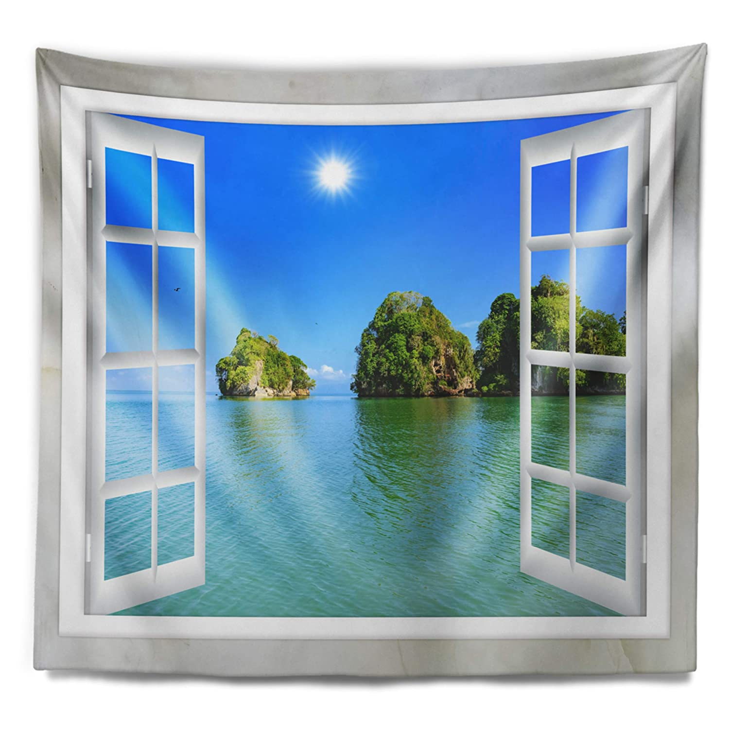 39 in in x 32 in Designart TAP11424-39-32  Open Window to Ocean Islets Landscape Blanket D/écor Art for Home and Office Wall Tapestry Medium