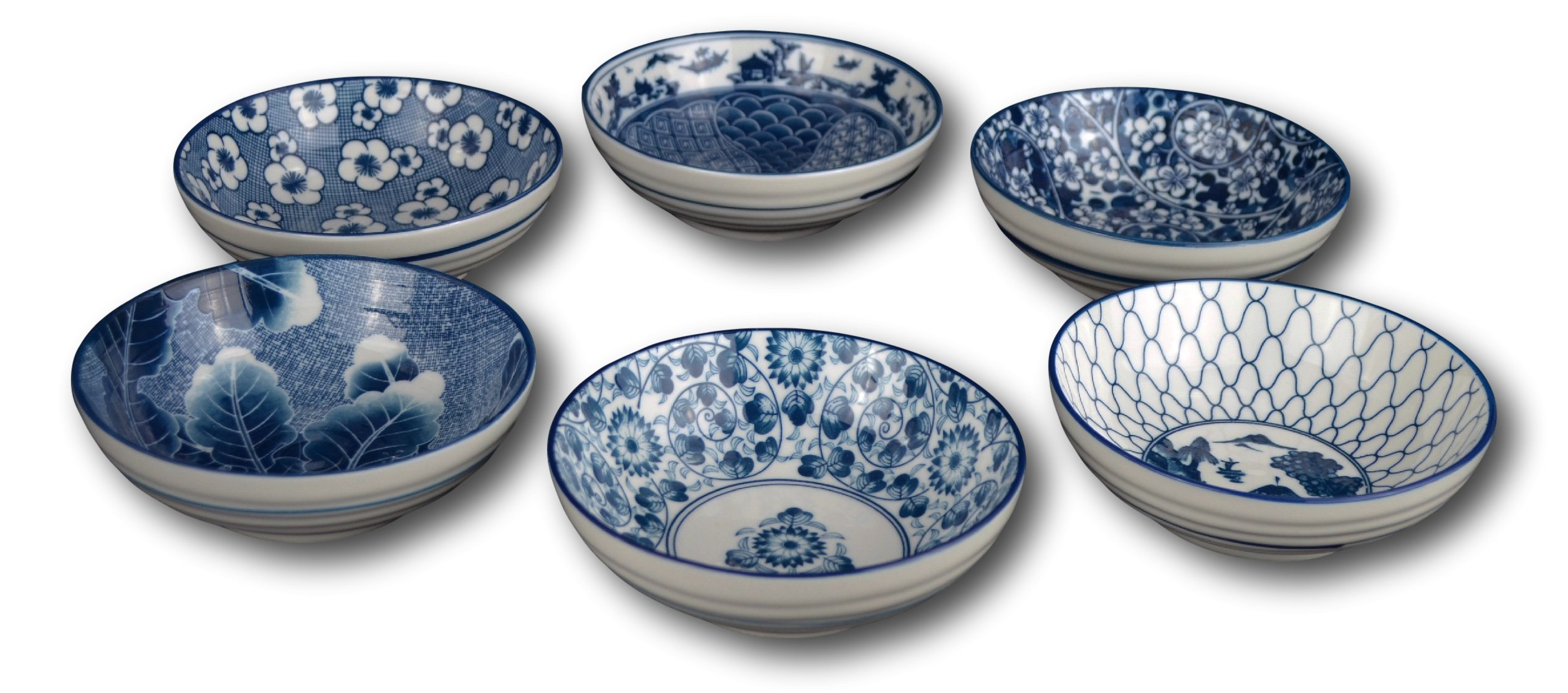 Porcelain Chinese Japanese Bowl Sets with Free 6 Porcelain Spoons, Set of 6
