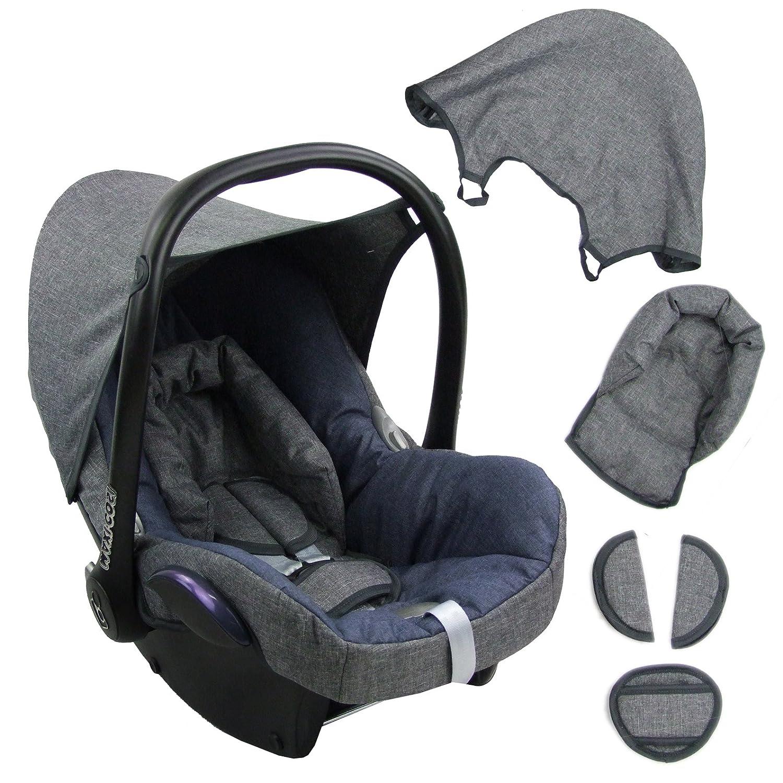 BAMBINIWELT Ersatzbezug für Maxi-Cosi CabrioFix 6-tlg. GRAU/MARINE, Bezug für Babyschale, Komplett-Set Bezug für Babyschale