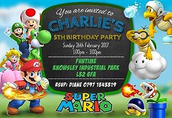 Super Mario Party Invitations Envelopes Personalised Click