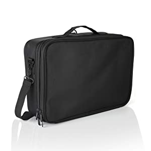 "Portable Professional Organizer Makeup Bag 16"", Makeup Artist Train Case, Makeup and Cosmetic Traveling Kit, Waterproof, Black (Large)"
