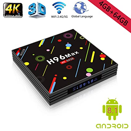 Android 8 1 4K Smart TV Box 4G+64GB H96 Max Display Screen RK3328 UHD  Quad-Core WiFi Ultra HD H 265 Bluetooth