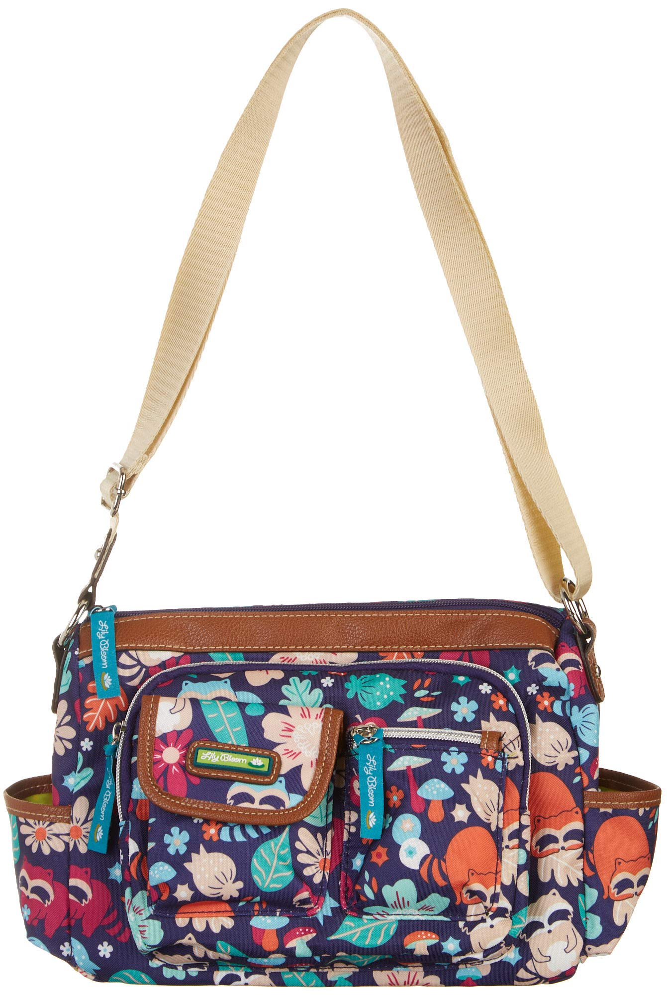 Lily Bloom Libby Harvest Raccoon Printed Hobo Handbag One Size Blue multi