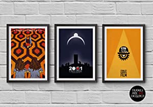 Stanley Kubrick Minimalist Poster Set of 3 Films The Shining A Clockwork Orange 2001: A Space Odyssey Print Collectibles Cult Movies Wall Artwork Home Decor Hanging Cool Gift