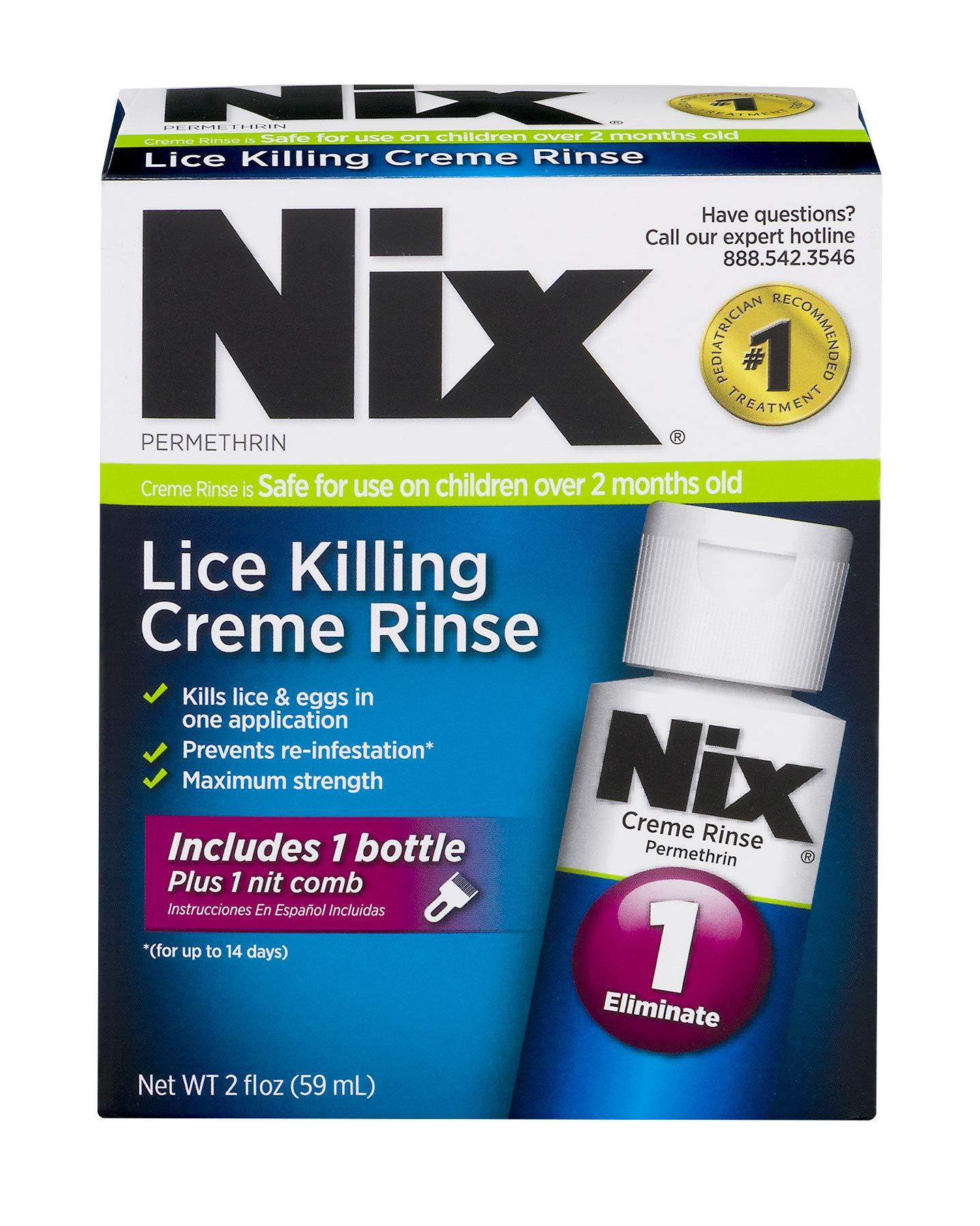 Nix Lice Killing Creme Rinse | Includes Nit Removal Comb | 2 FL OZ by NIX