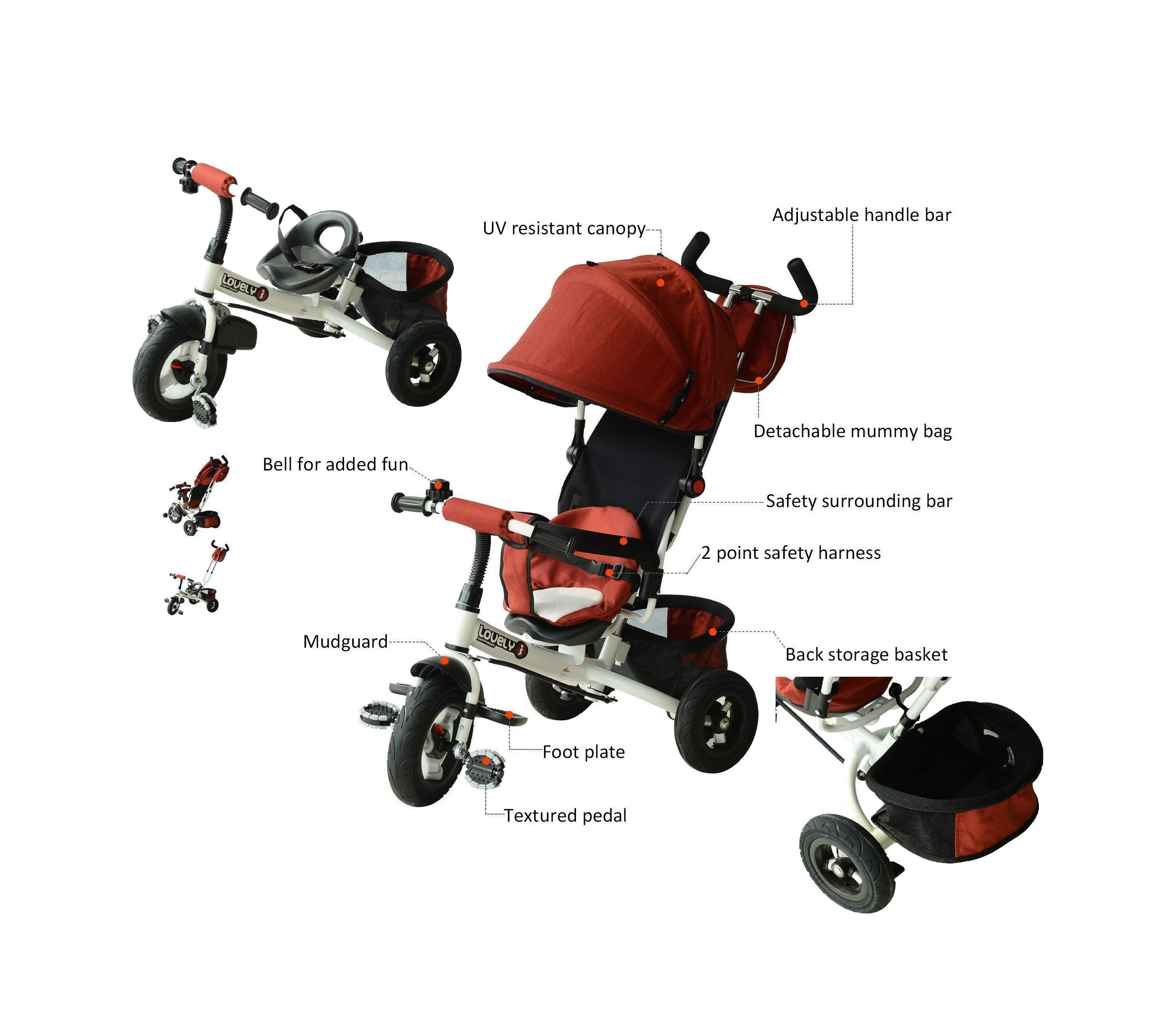 2in1 Safety Kid Baby Ride On Tricycle Trike Stroler Push Toddler Steel Play Toy Red Quick Arrive
