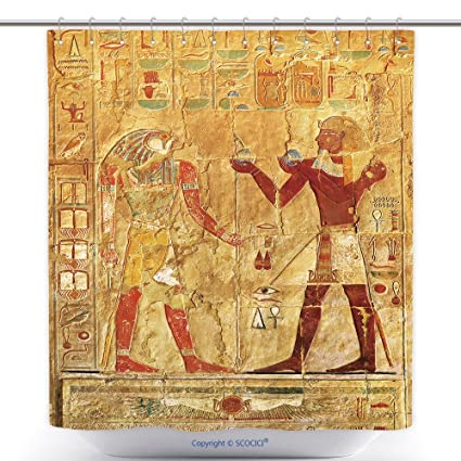 Amazon Com Vanfan Durable Shower Curtains Ancient Egypt Color