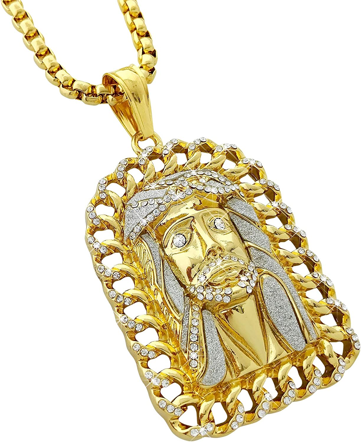 REAL SOLID STERLING SILVER 1 Row 3mm Tennis Chain Bling CZ Jesus Head Face Piece