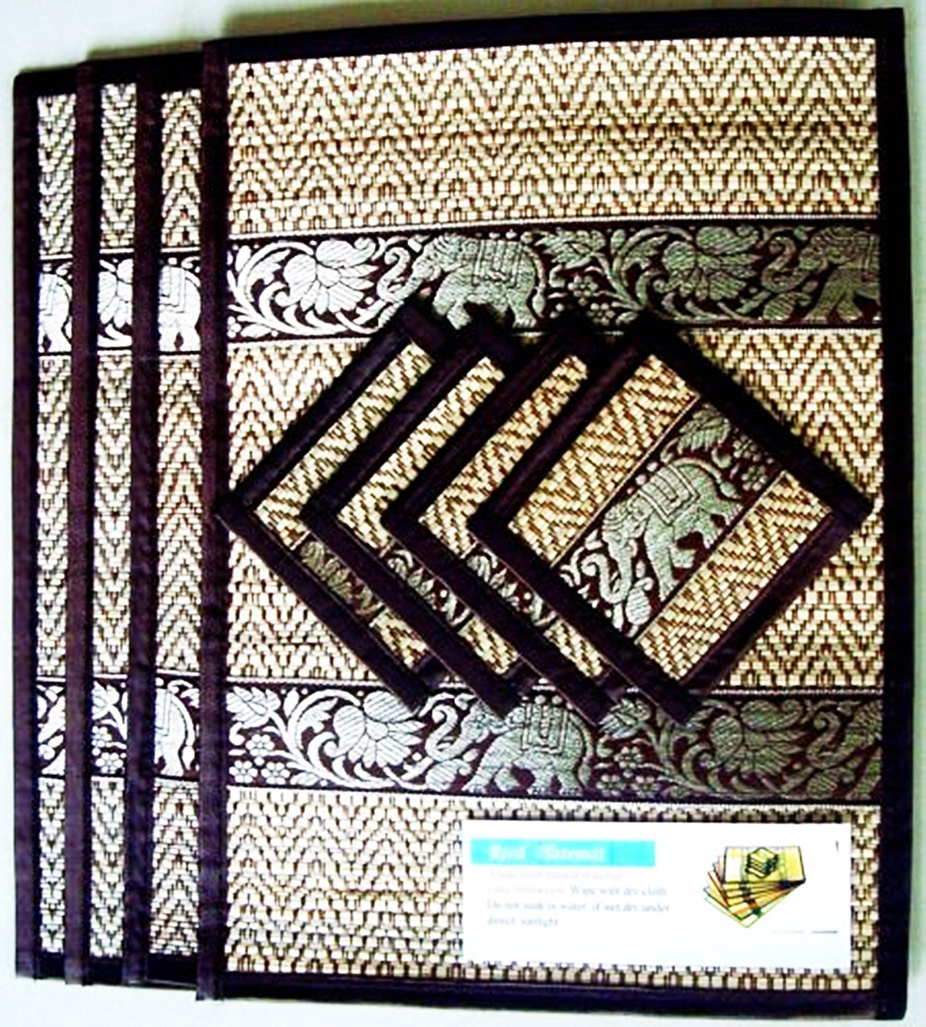 THAI HOME DECOR SILK HANDCRAFT ELEPHANT REED PLACEMATS & COASTERS HANDMADE DINING ROOM BLACK COLOR by Thailand