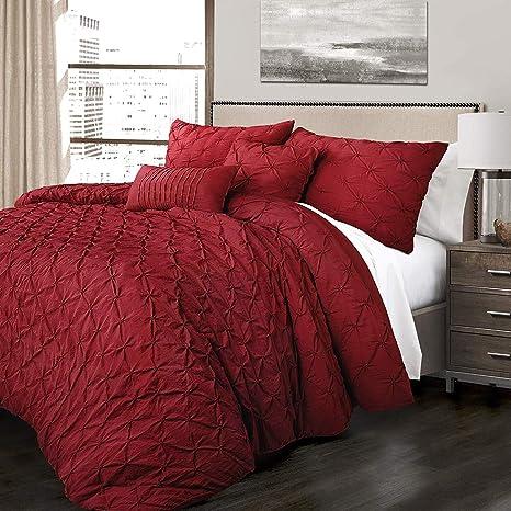 Amazon.com: K-U-P 5 Pc Red, Beautiful Comforter Set King ...