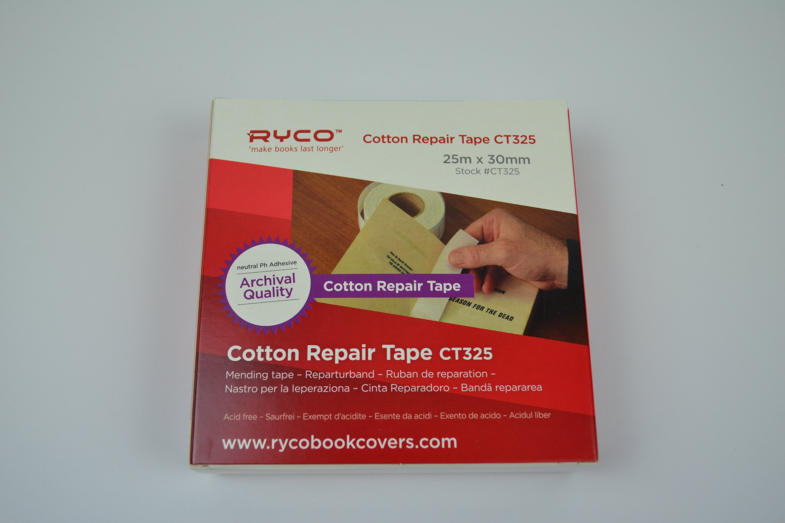 Ryco Cotton Book Repair Tape - White Cotton Tape 1.18'' x 27 Yards (1 Roll)