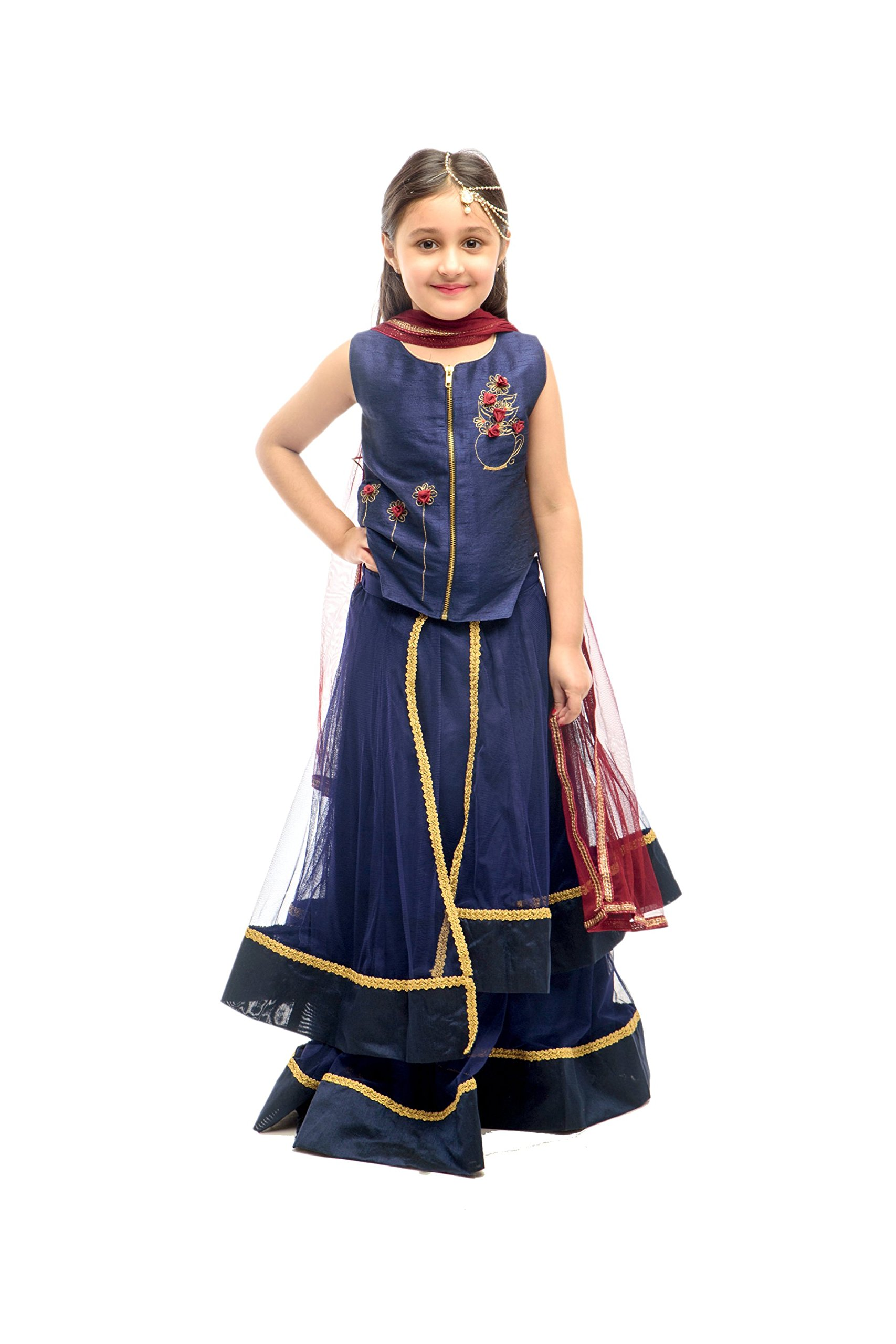 K&U Girls' Blue Layered Net Lehenga with Jacket Style Raw Silk Choli by K&U