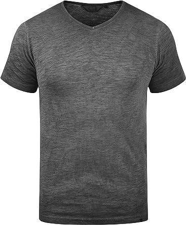 Solid Conley Camiseta Básica De Manga Corta T-Shirt para Hombre con Cuello De Pico De 100% algodón: Amazon.es: Ropa y accesorios