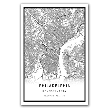 amazon com philadelphia map poster print modern black and white