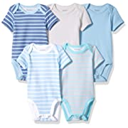 Hanes Ultimate Baby Flexy 5 Pack Short Sleeve Bodysuits, Blue Stripe, 0-6 Months