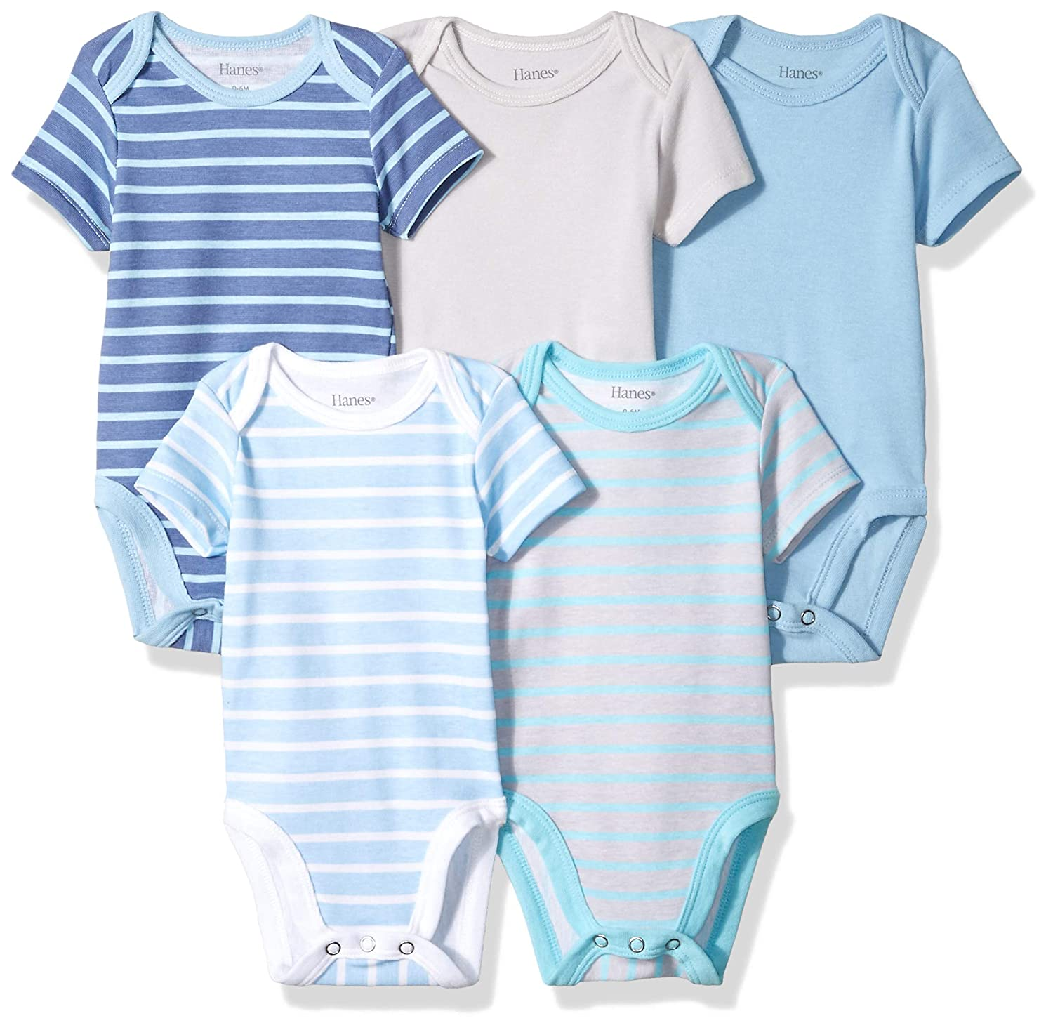 9246fd8d4 Amazon.com: Hanes Ultimate Baby Flexy 5 Pack Short Sleeve Bodysuits:  Clothing