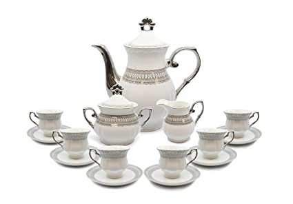 Royalty Porcelain 17-pc Tea Set for 6 Czech Porcelain (Elegant Silver)  sc 1 st  Amazon.com & Amazon.com | Royalty Porcelain 17-pc Tea Set for 6 Czech Porcelain ...