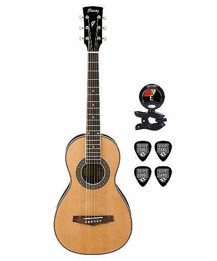 Ibanez PN1 caoba 6 cuerdas de guitarra acústica con Clip On Sintonizador de guitarra y guitarra