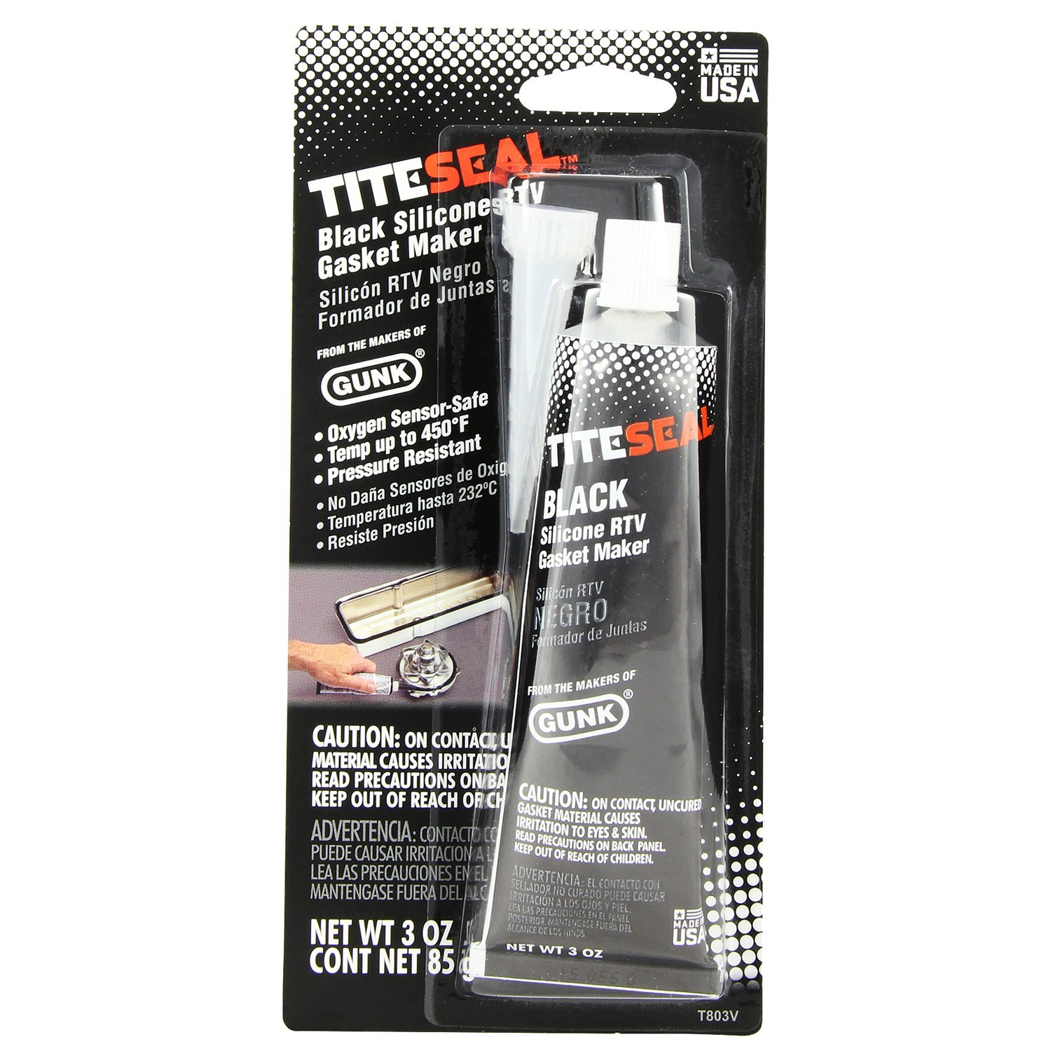 Tite-Seal TITESEAL by GUNK T803V-12PK Black Silicone RTV Gasket Maker - 3 oz, (Case of 12)