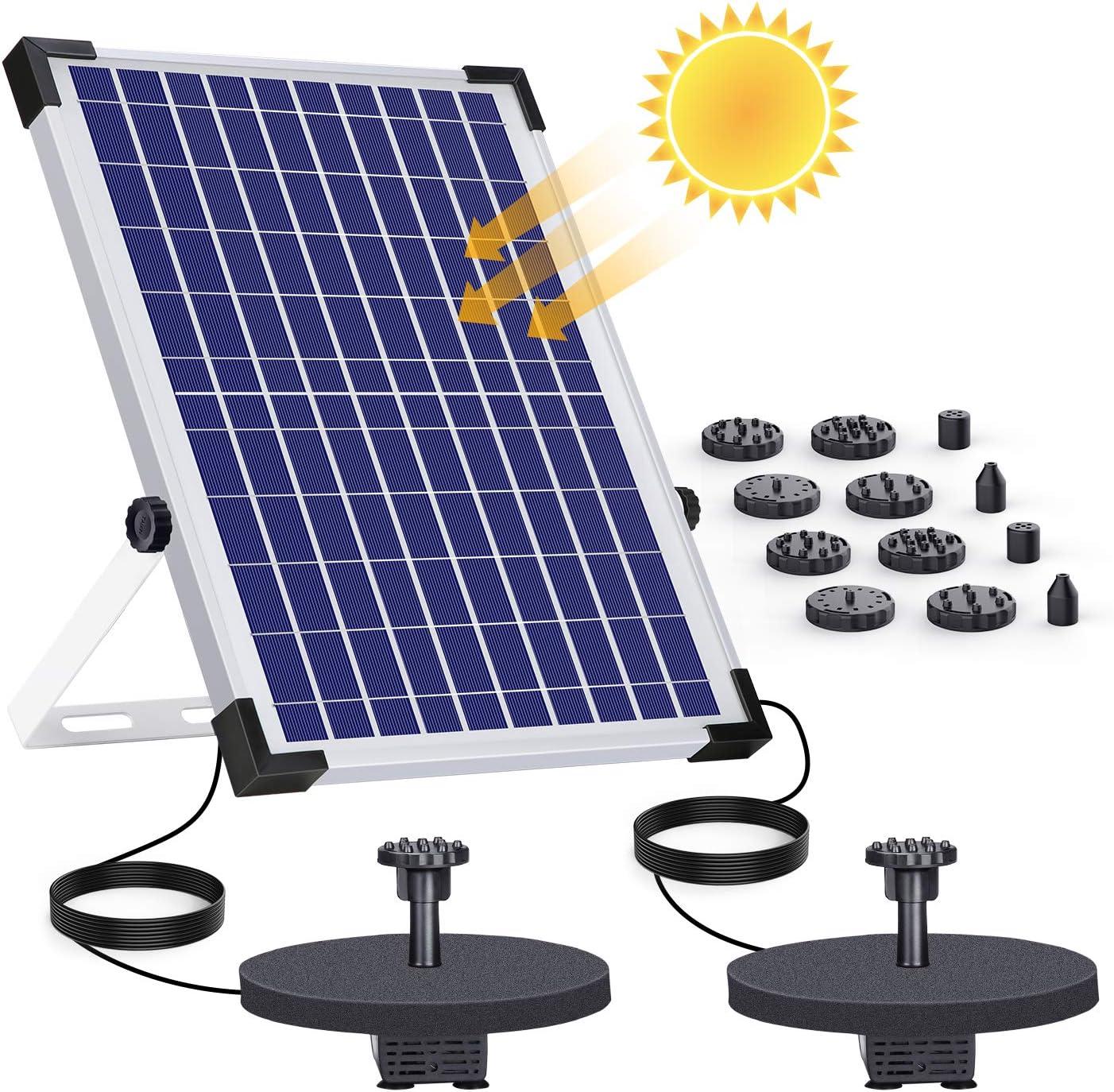 AISITIN Fuente Solar Bomba 12W Fuente de Jardín Solar, Batería Incorporada, Caudal 500 L/H, Cada bomba tiene 6 boquillas y una mesa flotante para pequeños estanques y Decoración del Jardín
