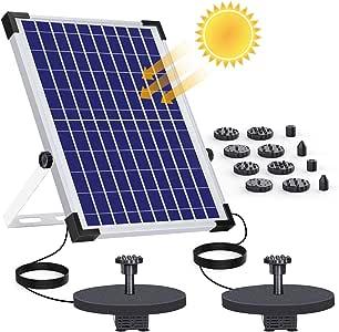AISITIN Fuente Solar Bomba 12W Fuente de Jardín Solar, Batería Incorporada, Caudal 500 L/H, Cada Bomba Tiene 6 boquillas y una Mesa Flotante para pequeños estanques y Decoración del Jardín: Amazon.es: Jardín