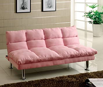 Furniture Of America Cheryl Padded Microfiber Futon Sofa, Pink Finish