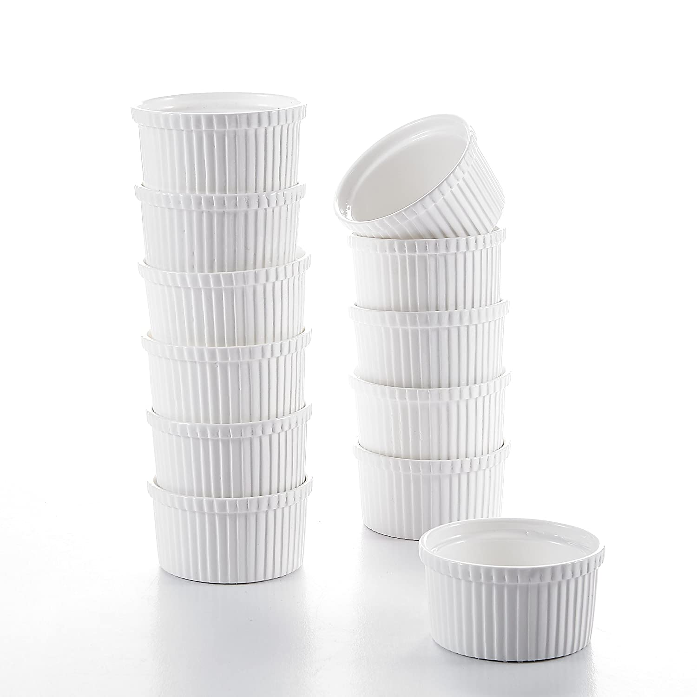 Malacasa, Series Ramekin, 12-Piece 2.75' (7cm) Ramekins Ivory White Porcelain China Ceramic Cream White Dishes(Set of 12) 12-Piece 2.75 (7cm) Ramekins Ivory White Porcelain China Ceramic Cream White Dishes(Set of 12)
