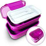 Effiliv Bento Lunch Boxes Food Safe Containers Designed with Style Built for FunctionElegant, 2 Containers & Matching Silverware