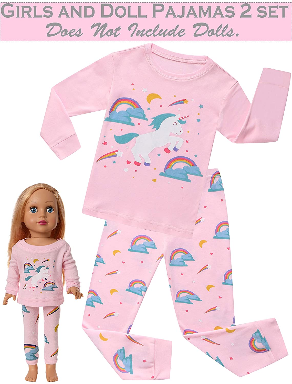 924f2af7ffa0 Amazon.com  Unicorn Pajamas Sleepwear Clothes Matching Doll   Girls ...