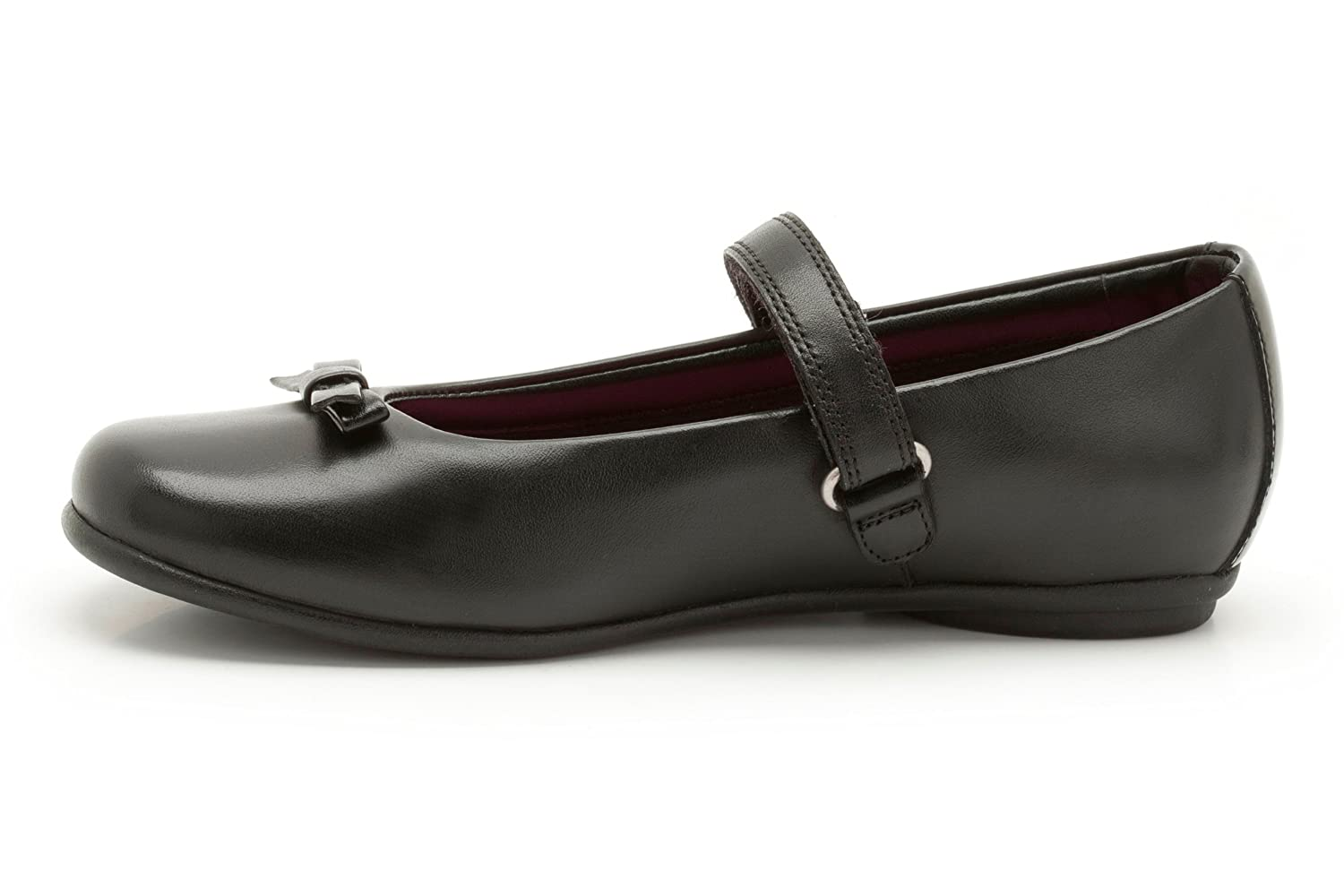 Clarks Girls School Daisy Meadow Leather Shoes In Black Narrow Fit Size  7.5: Amazon.co.uk: Shoes & Bags