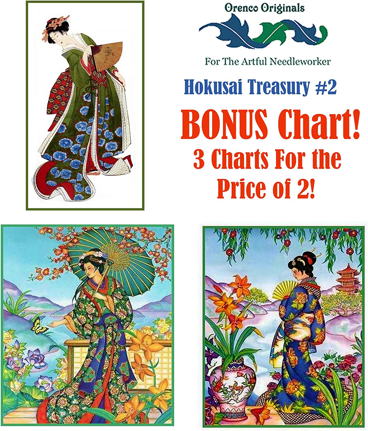 Asian Umbrellas Cover from Rain Woodblock Japanese Counted Cross Stitch Pattern