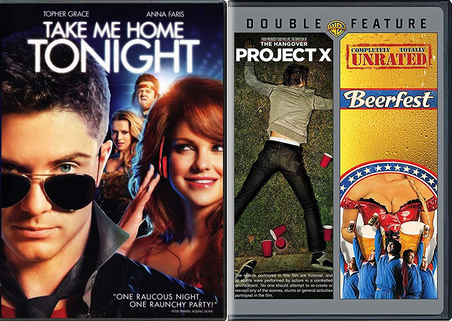 Raunchy Party Night Comedy Collection - Take me Home Tonight + Project X & Beerfest -DVD Triple Feature Bundle