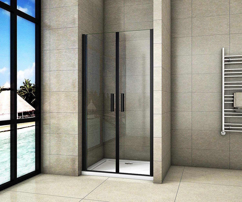 Cabina de ducha con puerta giratoria de doble puerta de cristal de ...