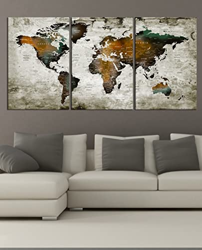 Amazon push pin detailed world map wall art canvas print push pin detailed world map wall art canvas print watercolor map poster printed on canvas gumiabroncs Image collections