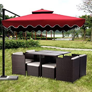 Merax 9 Piece Outdoor PE Rattan Wicker Patio Dining Table Set Garden  Outdoor Patio Furniture
