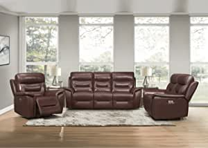 Lexicon Charley 3-Piece Power Reclining Sofa Set, Brown