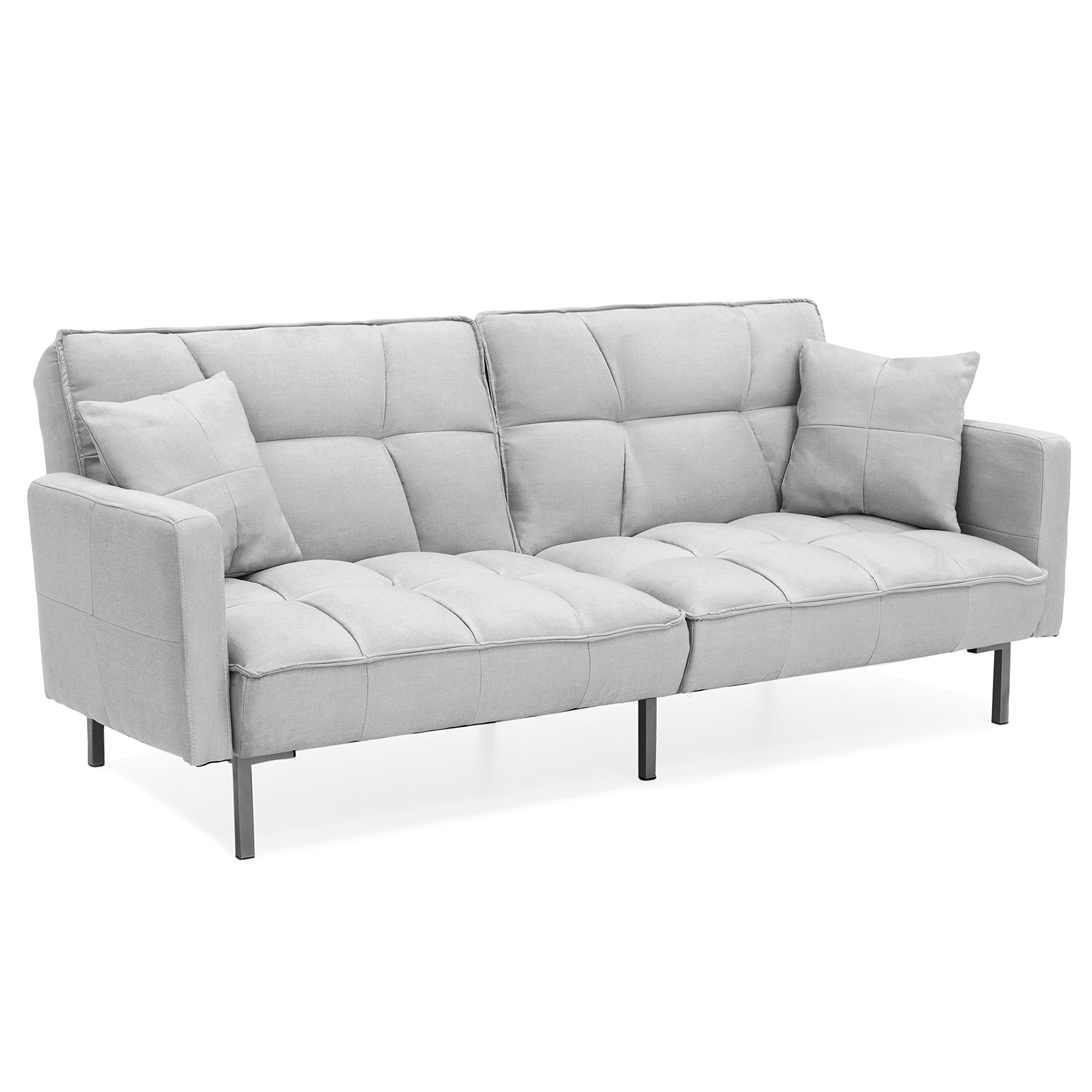 Best Choice Products Home Furniture Convertible Linen Tufted Splitback Futon Couch W/ Pillows (Light Sea Foam Grey)