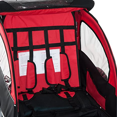 Aosom 3 In 1 Double Child Baby Bike Trailer Stroller Jogger Black Red Amazonca Sports Outdoors