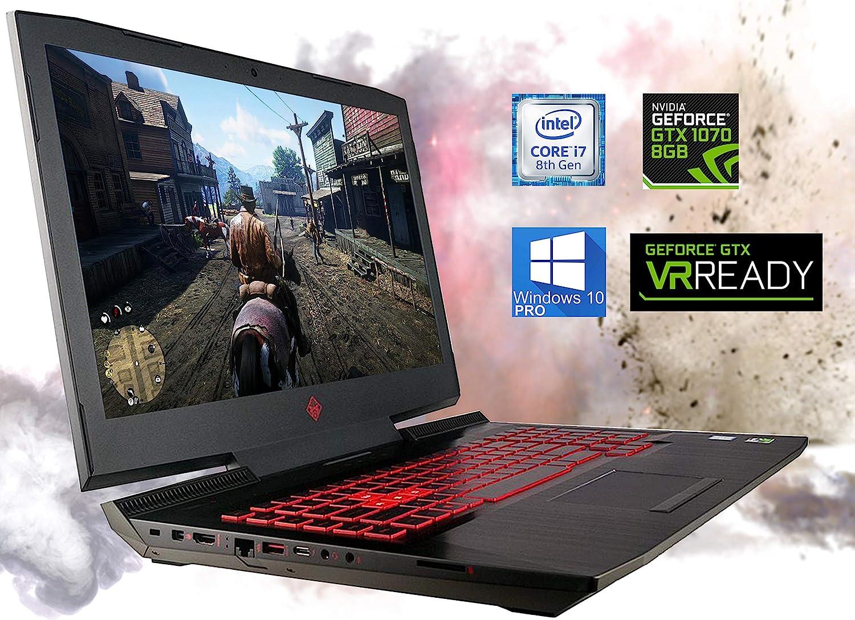 "HP OMEN 17.3"" Gaming Laptop, Intel i7-8750H, VR Ready NVIDIA GeForce GTX 1070 4K, 16 GB RAM, 512 GB NVMe SSD + 2 TB HDD, HDMI, Thunderbolt, Mini-DisplayPort, AC Wi-Fi, Bluetooth - Windows 10 Pro"