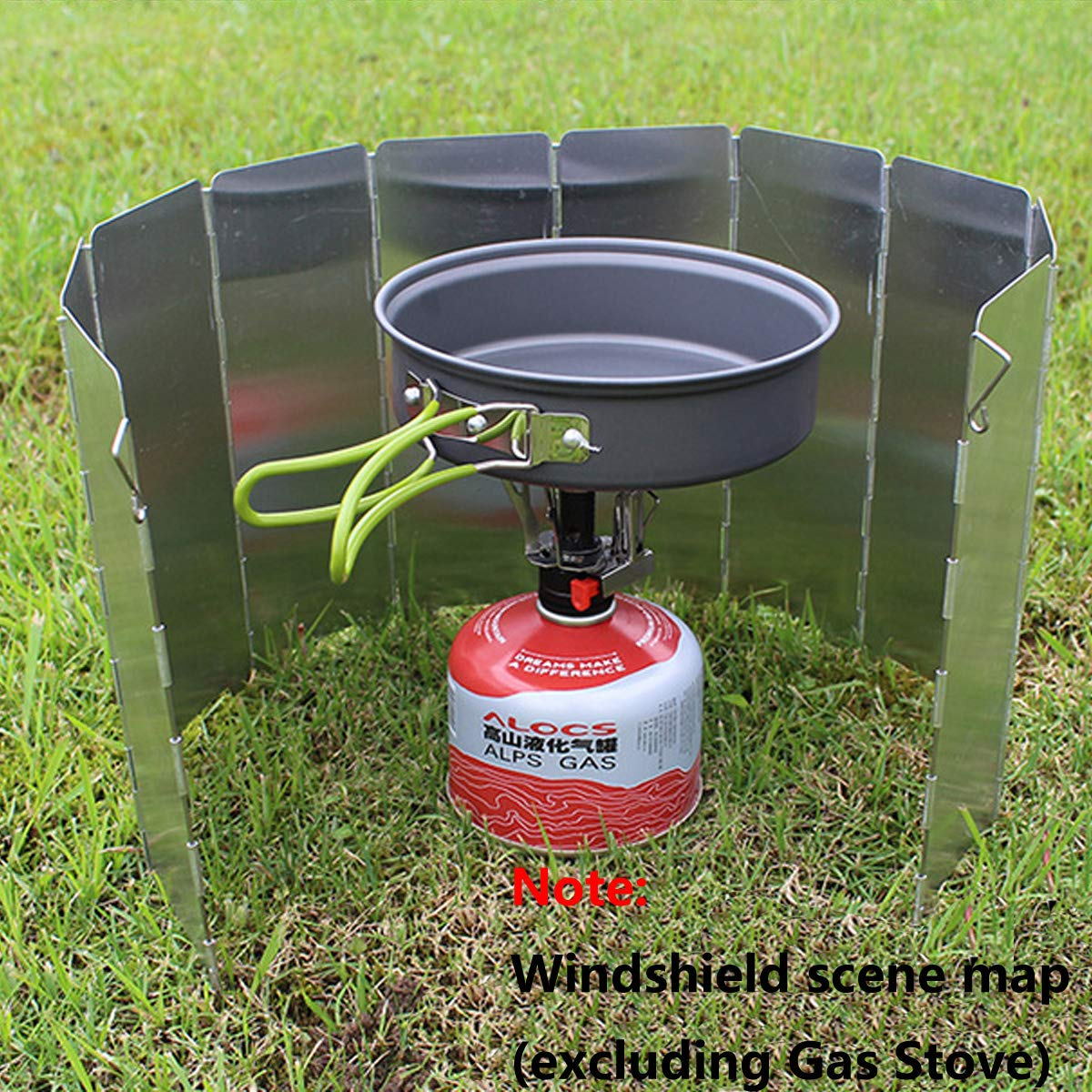 10 Plates Foldable Outdoor Camping Cooker Wind Screen Gas Stove Windshield With a Storage Bag Aluminum Alloy Windshield ZONSUSE cjixnji Camping Stove Windshield