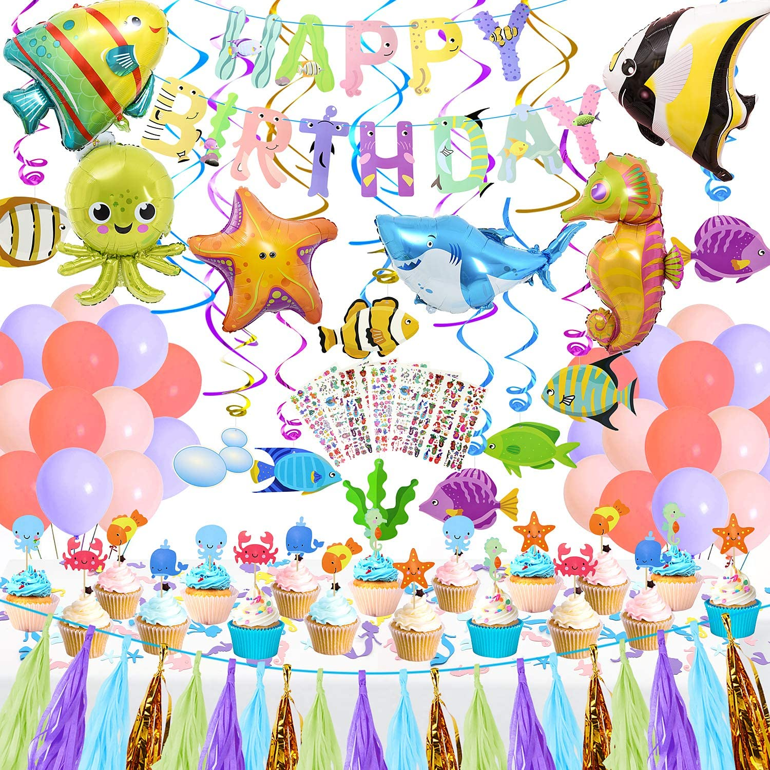 Balloons Tropical Fish Party Decorations for Kids Ocean Theme Birthday Decor Hanging Swirl Birthday Banner Cake Toppers Tattoos Under The Sea Party Supplies for Boys Girls Baby Shower