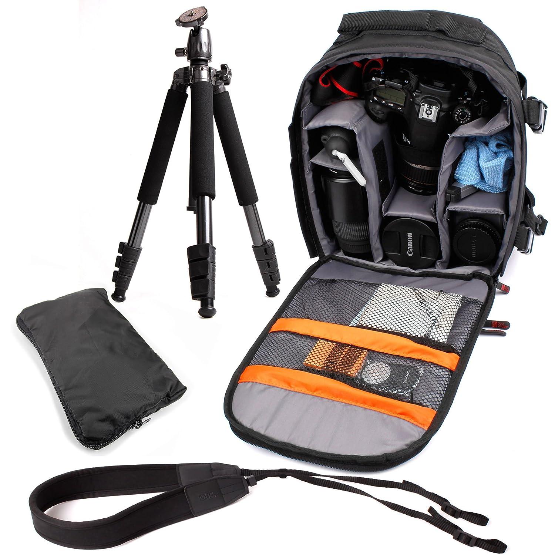 DURAGADGETプロフェッショナルSLRカメラスターターキットComprisingのハードWearingリュックサック、軽量三脚&安全調節可能なネックストラップwith Soft Paddedストラップfor Suitable for Larger Sony、Olympus Eモデル   B00LAYAG5E