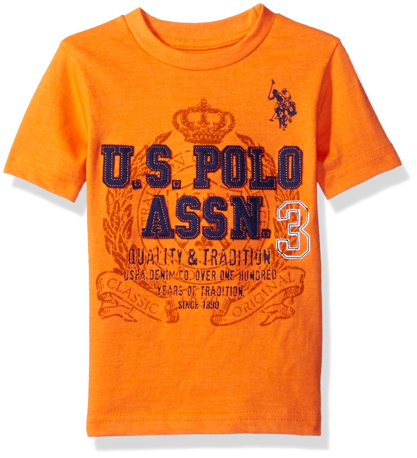 U.S. Polo Assn. Boys' Crew Neck Iconic Graphic Logo T-Shirt,Orange Heather H4GS010OEV1,2T by U.S. Polo Assn. (Image #1)