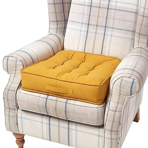 Homescapes – Cojín rehausseurpour Silla algodón 100%, Amarillo Mostaza, 50 x 50 x 10 cm
