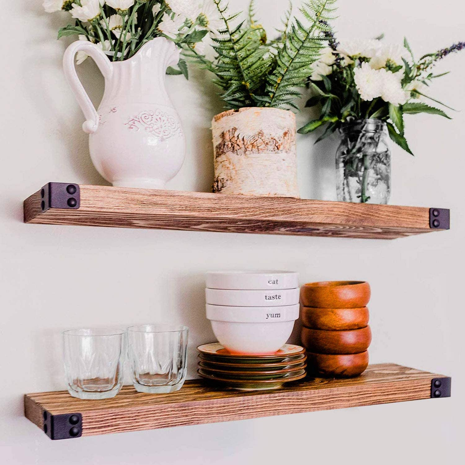 Floating Shelves for Wall Mounted, Modern Rustic All Wood Wall Shelves, Set of 2 for Bedroom, Bathroom, Family Room, Kitchen with Decorative Iron Corners 24 x 6 x 1.5 in