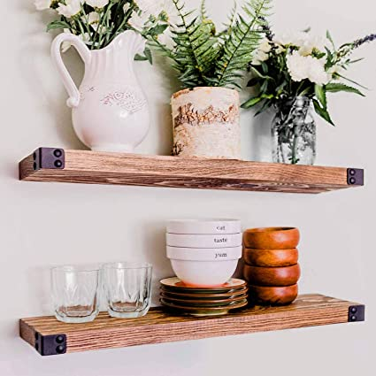 Wg Willow Grace Designs Floating Shelves For Wall Mounted Modern Rustic All Wood Wall Shelves Set Of 2 For Bedroom Bathroom Family Room Kitchen With Decorative Iron Corners 24 X 6 X 1 5 In Kitchen Dining Amazon Com