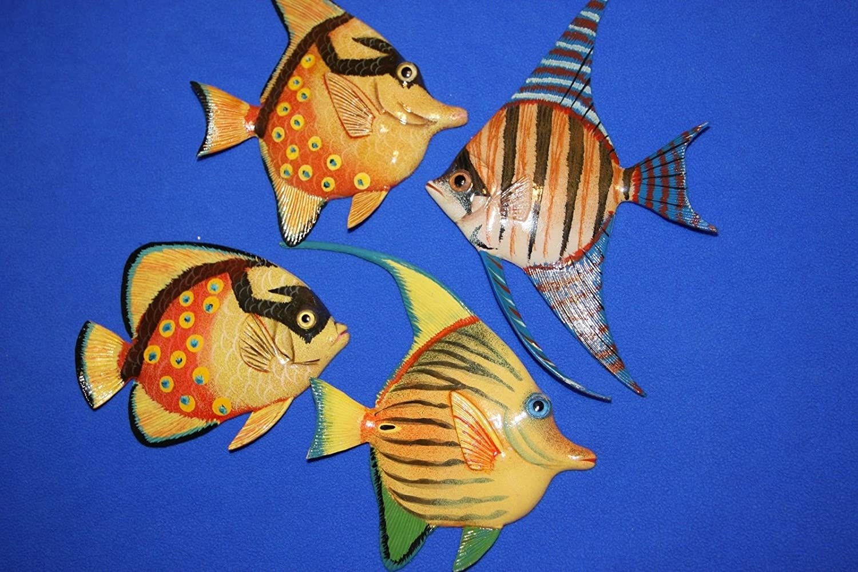 Salty Pelicanカラフルな魚保育園壁アート、3 - D poly-resin 6インチ、バンドル4魚   B07DPVP8HV