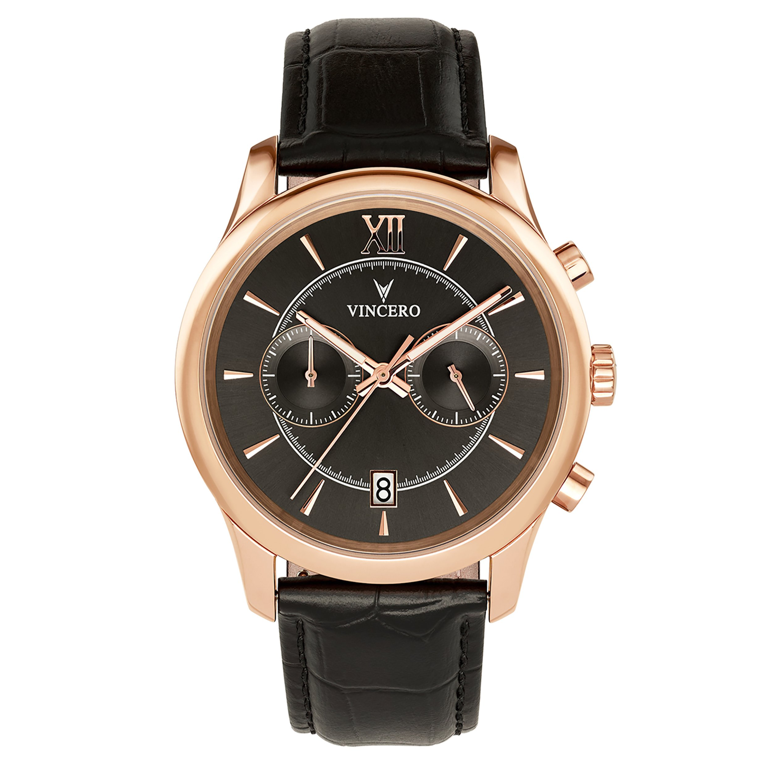 Vincero Luxury Men's Bellwether Wrist Watch — Rose Gold with Black Leather Watch Band — 43mm Chronograph Watch — Japanese Quartz Movement