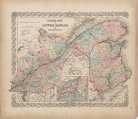 Antique Map Of Quebec Lower Canada Colton 1855 Original Canadian